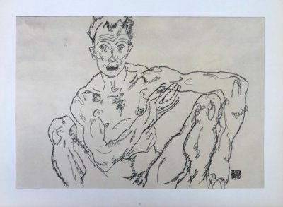 "Schiele Egon, 58, Lithograph ""Nude Man Crouching"" printed 1968"