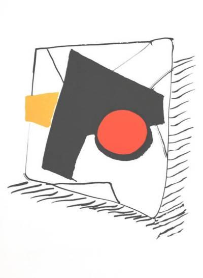 """Calder Original Lithograph DM16212 15 x 11"""" Printed 1975"""