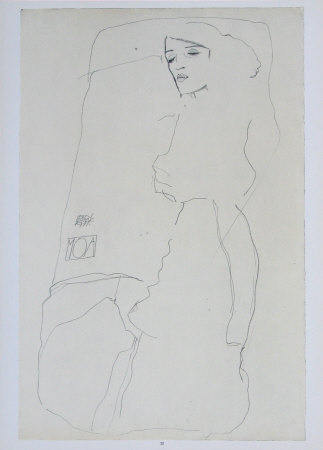 "Schiele Egon, 23, Lithograph, ""The dancer Moa"" printed 1968"