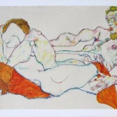 """Egon Schiele 36, Lithograph, """"Entwined reclining couple"""" printed 1968"""