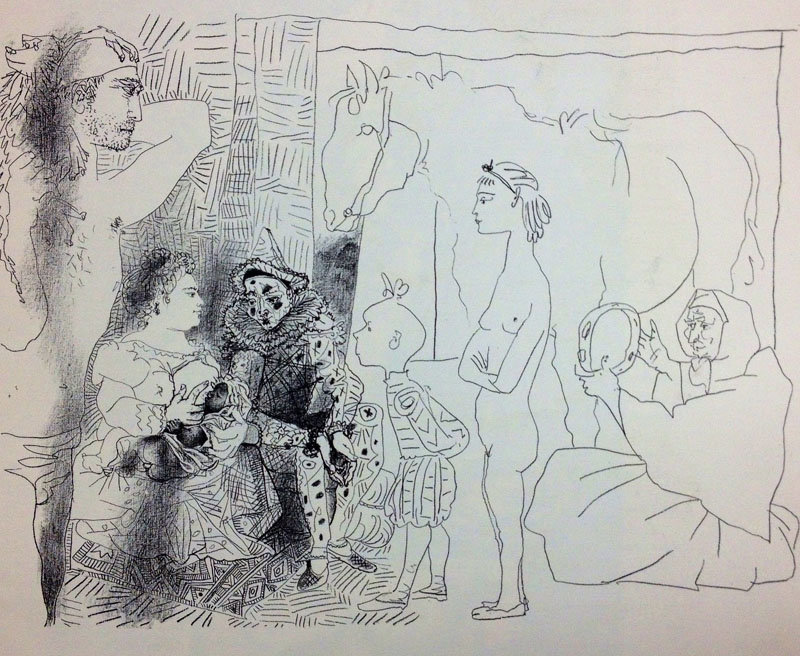 """Picasso """"Clown's family"""" Lithograph 16.5 x 13.5"""" printed 1959"""