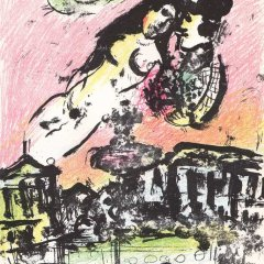"""Chagall """"The lovers heaven"""" Original Lithograph V2 Mourlot 1963"""