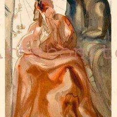 "Salvador Dali Woodcut ""Purgatory 31, Dante confession"" Divine Comedy"