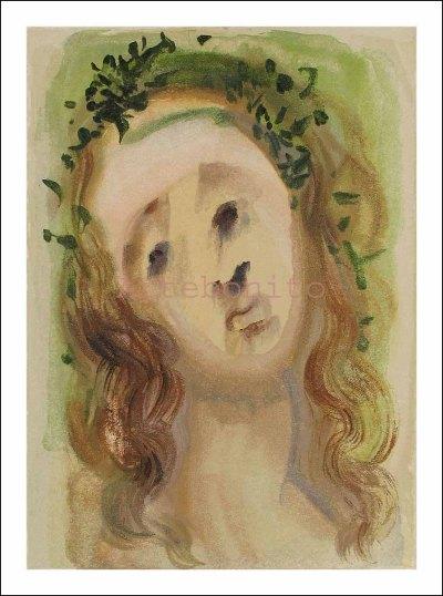 Dali woodcut, Purgatory 10 -Virgil's face, Divine Comedy