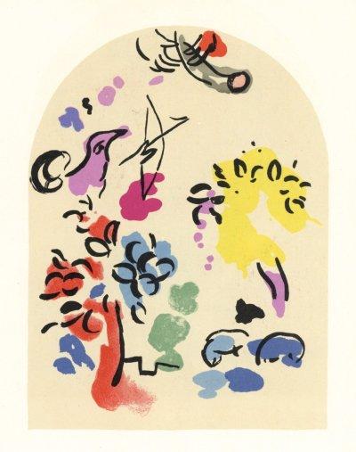 "Chagall Lithograph ""Sketch of Joseph"" Jerusalem windows 1962"