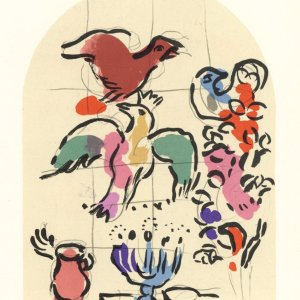 "Chagall Lithograph ""Sketch of Asher"" Jerusalem windows 1962"