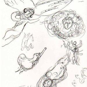 1966 Chagall Sketch 6 Lithograph Paris Opera
