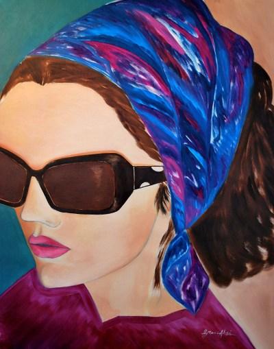 "Absi Grace, ""Foulard bleu"" Oil on canvas"