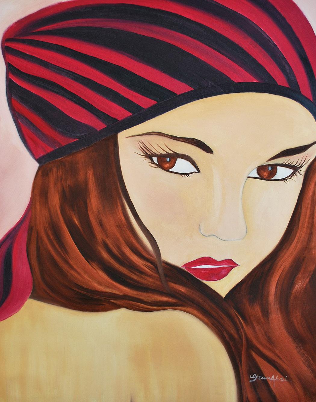 """Absi Grace """"Portrait de femme au beret"""" Oil on canvas"""