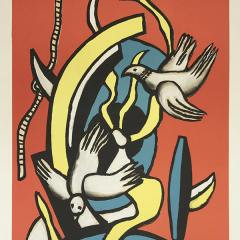 Fernand Leger Lithograph, Les oiseaux, Maeght publisher, Abstract Expressionism