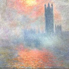 """Monet Claude Poster """"rouee de soleil dans la brouillard"""""""