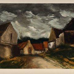 """Vlaminck 34 """"A village in Sarthe"""" 1958"""