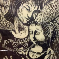 """Yokin Dorothy """"The Protector"""" Woodcut signed & numbered"""
