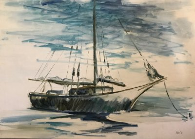William Moise 'Friends boat loop' Oil on canvas