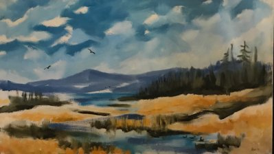 William Moise 'Osprey fishing' Oil on canvas