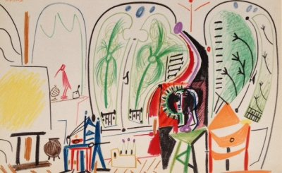 Pablo Picasso, Lithograph No. 5 date 8/11/1955, Limited Edition Sketchbook 1960