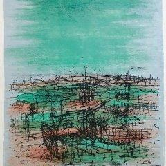 """Jean Carzou """"9"""" Original Lithograph 1962 Mourlot"""