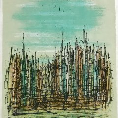 """Jean Carzou """"2"""" Original Lithograph 1962 Mourlot"""