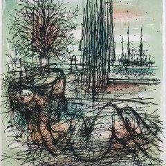 """Jean Carzou """"8"""" Original Lithograph 1962 Mourlot"""