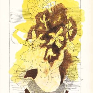Braque Lithograph yellow bouquet from carnet intimes