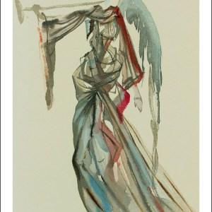 Salvador Dali Woodcut, Angel of sun – Paradise 10