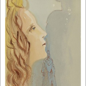 Dali woodcut, the greatest beauty of beatrice, divine comedy