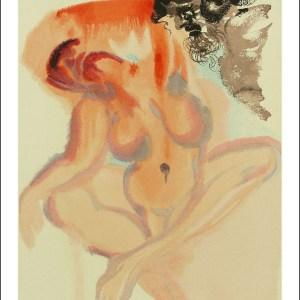 Salvador Dali Woodcut, Indolent ones – Purgatory 3