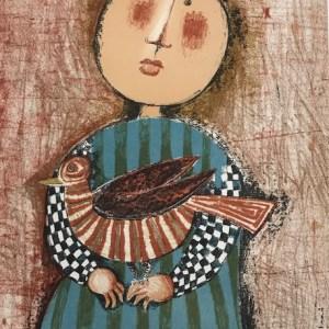 Boulanger Lithograph Mourlot, Enfant et oiseau 3