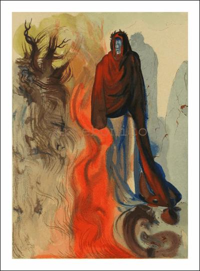 Salvador Dali, Hell 34, Woodcut, Divine Comedy
