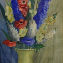 "E. E. Waltz Gouache ""Yellow Vase with Flowers"" signed"
