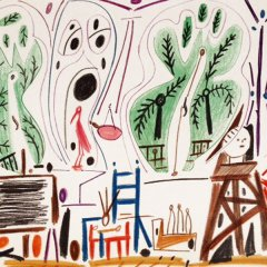 Pablo Picasso  Sketchbook lithograph No 1 date 8/11/1955,  Cubism, Modern Art