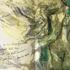 Pierre Parsus  Poster original Lithograph L eau de la claire fontaine, 1974  Abstract  Surrealism