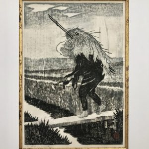 Masaharu Aoyama, Man cutting hay by hand, Pencil Signed woodblock