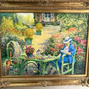Pauwels Jos, Signed Original Oil on canvas, Lady reading in the garden, Impresionism