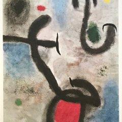 Joan Miro Femme et oiseaux  DM03155  Derriere le Miroir 1965,  Abstract,  Surrealism