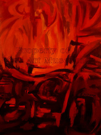 Alberto Schiuma, Fuego Oil Painting on Canvas 1999