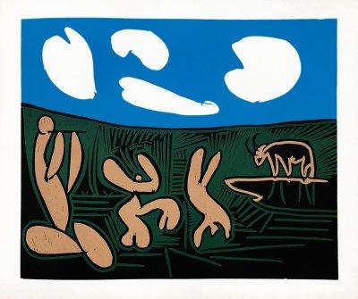 Pablo Picasso 30, Linogravures Bacchanale au taureau, 1962