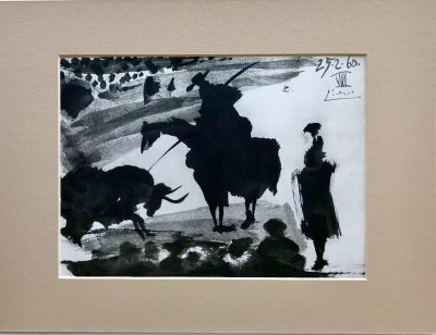 Pablo Picasso, Toreros No 37, In the bulling 1961, Matted in clear plastic bag, Ready to Frame