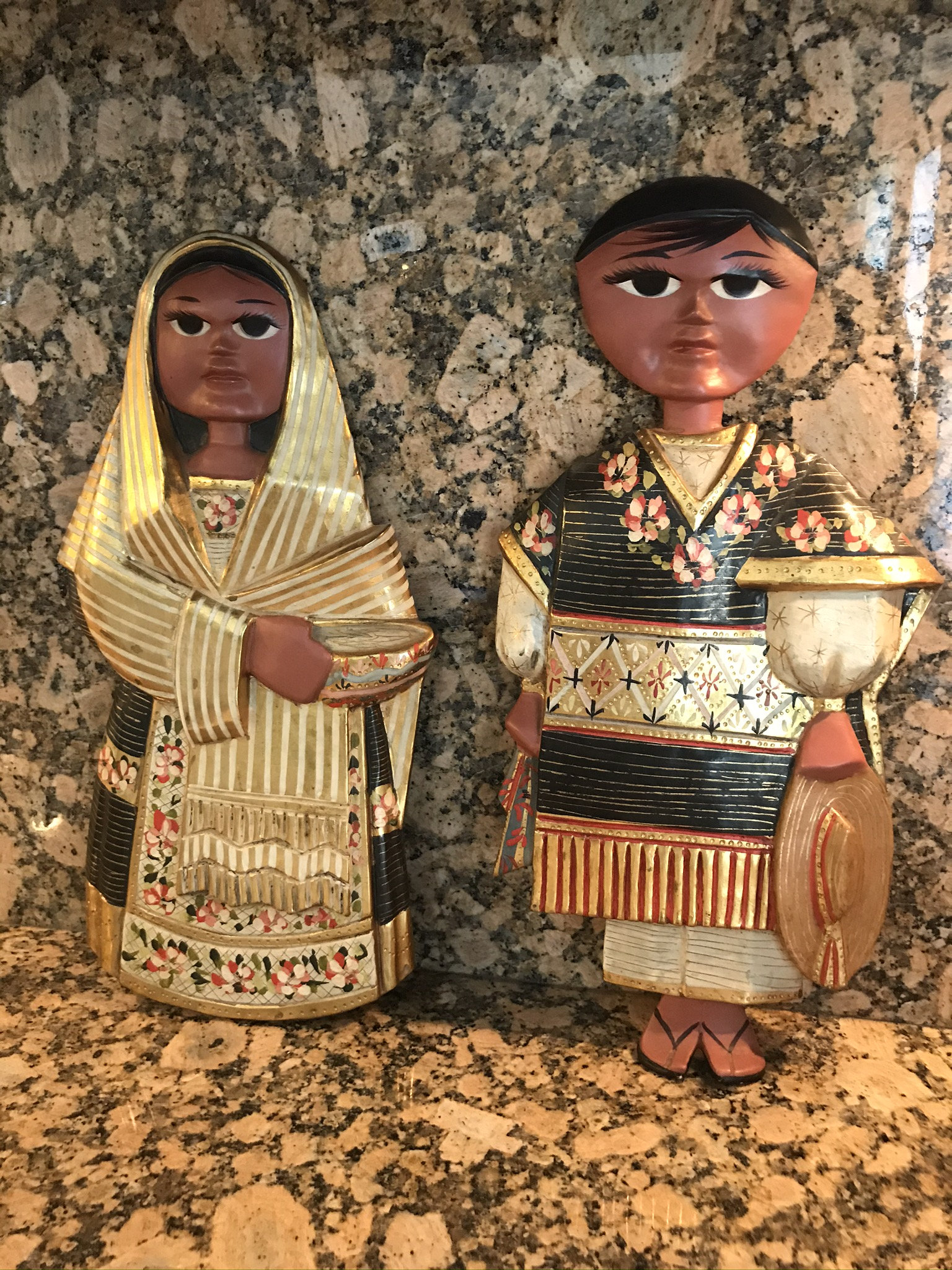 Pair of Folk Art, Signed by R. R. Pineda, Sculptural Wall Objects