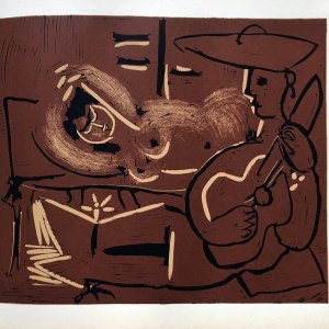 Pablo Picasso 15, Linogravures Femme couchee et guitariste 1962