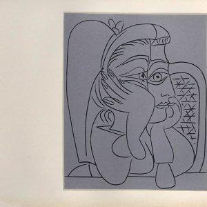 Pablo Picasso Linogravure 19, Femme accoudee 1962