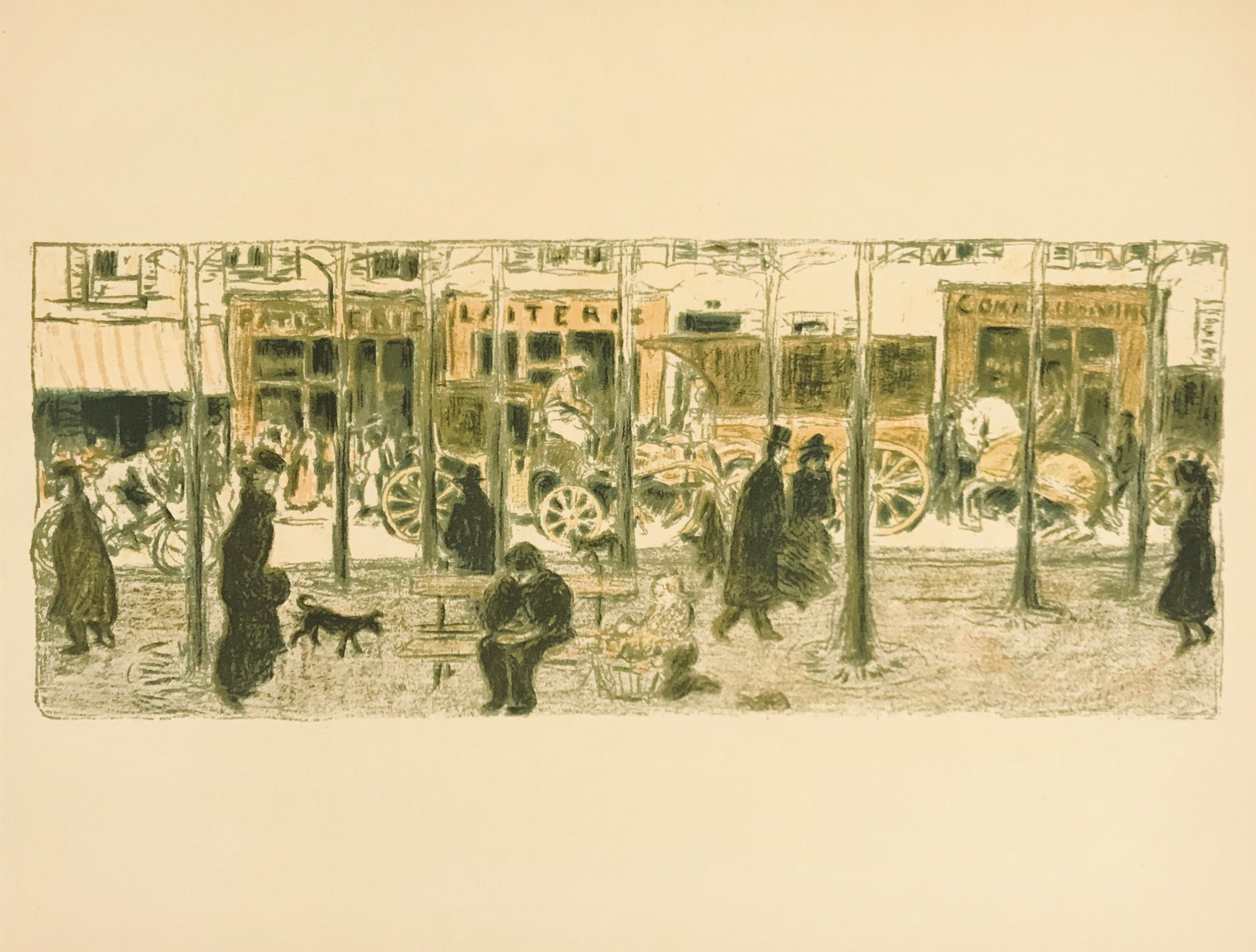 Bonnard Lithograph 61, Le Boulevard 1952