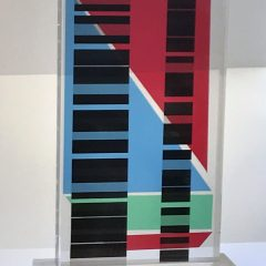 Contemporary Lucite Acrylic Sculpture Tower Composition 5,  H 19″  Signed,  Modern, Home decor