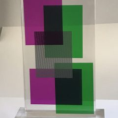 Contemporary Lucite Acrylic Sculpture Tower Composition 3,  19″ H  Signed,  Modern, Home decor
