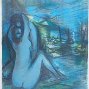 Marcel Mouly, Pencil Signed, Original Lithograph, Amour de Profile 1968