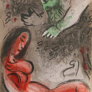 Marc Chagall, Original Lithograph 1960, Drawings for the Bible, Eve incurs God's displeasure