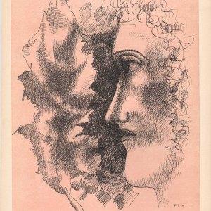 Fernand Leger Lithograph Tete et feuille, Verve Revue Artistique 1939