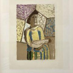 """Braque Lithograph """"La femme a la mandoline""""1963 Mourlot"""