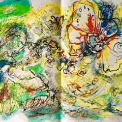Pierre Parsus Lithograph 1974, La chasse aux papillons