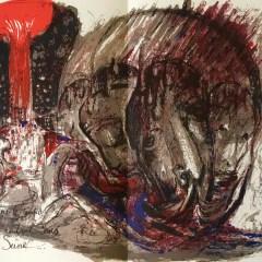 """Pierre Parsus Original Lithograph """"Le vin"""""""